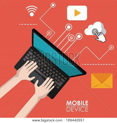 red poster mobile device of laptop computer in top view and link to common apps icons vector illustration