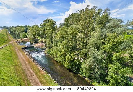 Small canal along the Rhine in Bas-Rhin - France, Grand Est