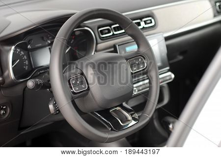 steering wheel in the new modern car
