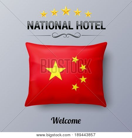 Realistic Pillow and Flag of China as Symbol National Hotel. Flag Pillow Cover with Chinese flag
