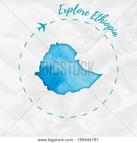 Ethiopia Watercolor Map In Turquoise Colors. Explore Ethiopia Poster With Airplane Trace And Handpai