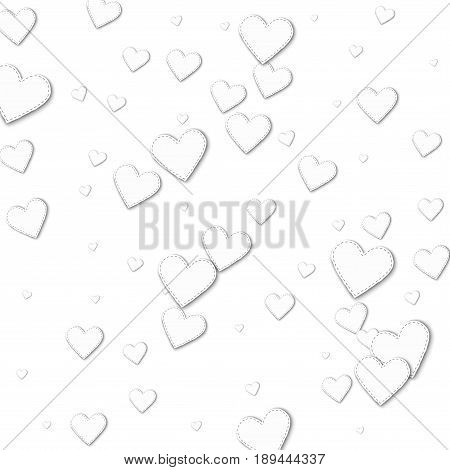 Cutout White Paper Hearts. Scatter Vertical Lines With Cutout White Paper Hearts On White Background