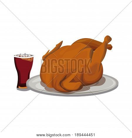 roaster chicken fast food soda with ice vector illustration