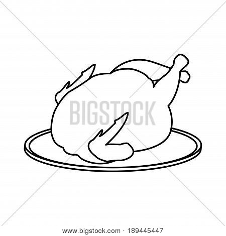 hot baked roasted chicken on plate fast food vector illustration