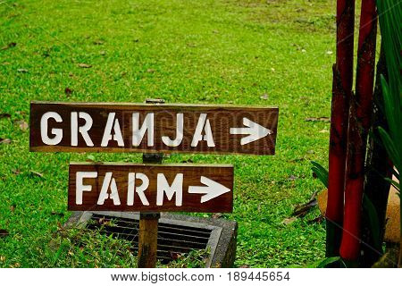 Signage at a Farm in Costa Rica
