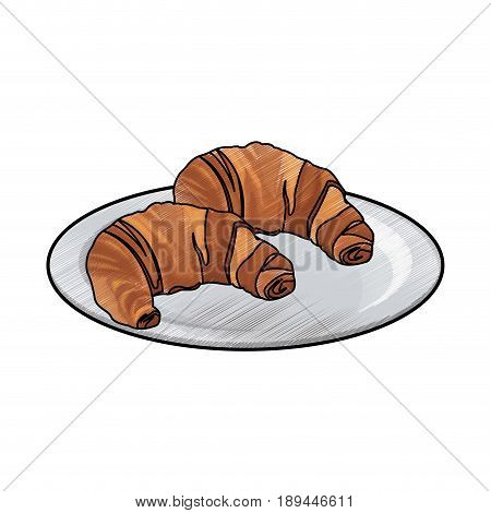 tasty yummy croissant bread bake food plate image vector illustration