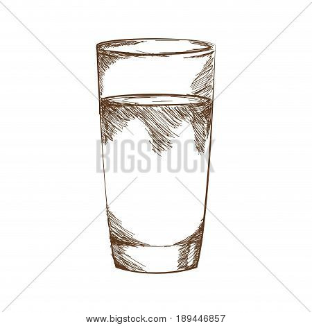drawn by hand glass juice or water vector illustration