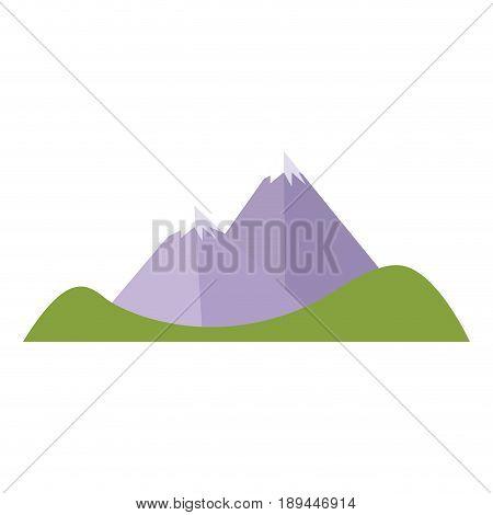 cartoon mountain peak snow climbing natural vector illustration