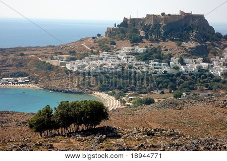 Town, castle and bay of Lindos - Rhodes, Greece
