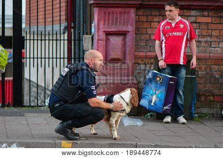 CARDIFF UK - 3 JUNE 2017 Sniffer dog and handler during Champions League Final. British police and security services on high alert as hundreds of thousands of fans enjoy football in the capital of Wales