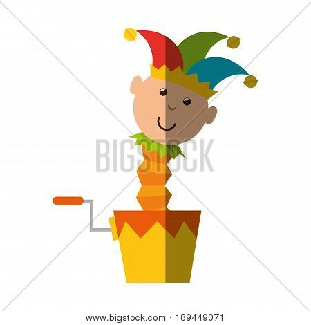 joke box with harlequin icon over white background. colorful design. vector illustration