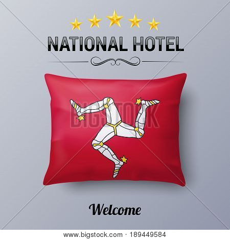 Realistic Pillow and Flag of Isle of Man as Symbol National Hotel. Flag Pillow Cover with flag design