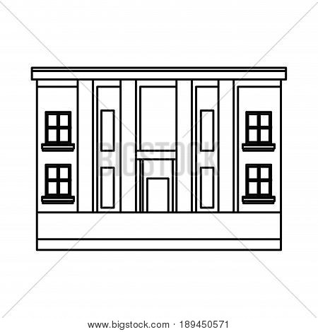 city hall architecture facade of building exterior entrance columns vector illustration