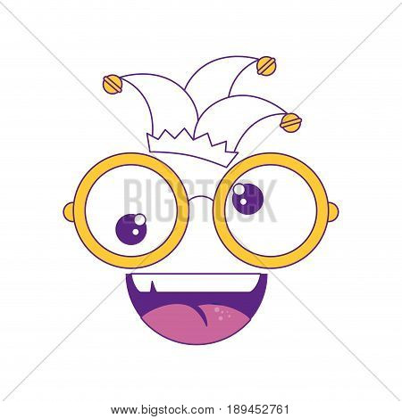 comic face with glasses and harlequin icon over white background vector illustration