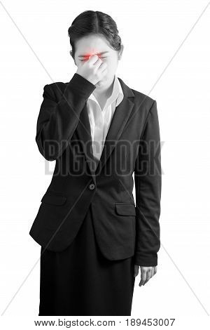 Nose Pain Symptom In A Woman Isolated On White Background. Clipping Path On White Background.