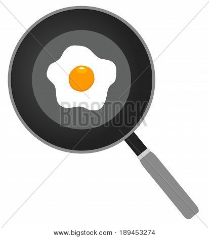 vector illustration of fried egg on frying pan flat icon fried egg closeup