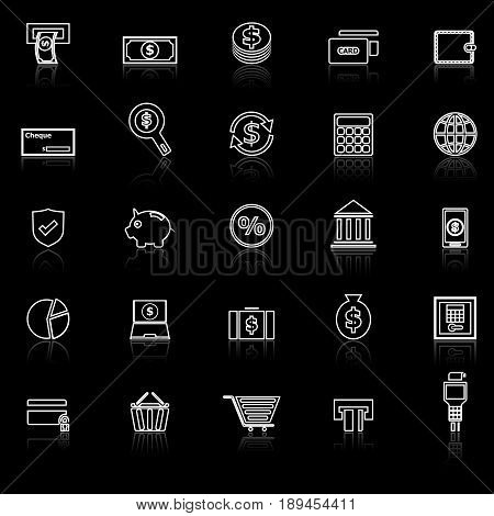 Payment line icons with reflect on black background, stock vector