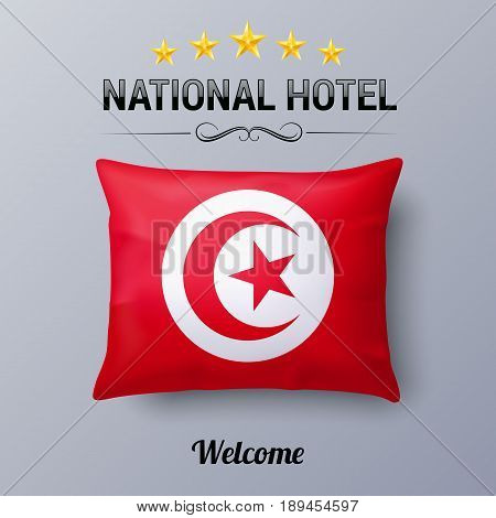 Realistic Pillow and Flag of Tunisia as Symbol National Hotel. Flag Pillow Cover with Tunisian flag