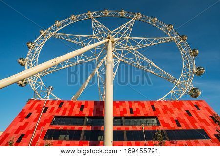 Melbourne, AUSTRALIA - MAY 23 2015: The Melbourne Star is a giant Ferris wheel in the Waterfront City precinct in the Docklands area of Melbourne, the state capital of Victoria, Australia.
