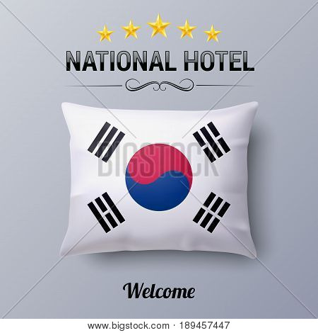 Realistic Pillow and Flag of South Korea as Symbol National Hotel. Flag Pillow Cover with South Korean flag