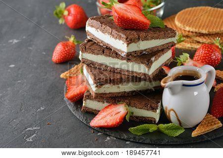 Chocolate ice cream sandwich on a gray background