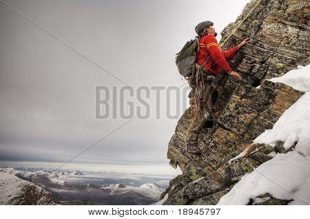 old style climber; winter season, horizontal orientation