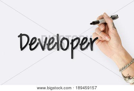 Website Developer Homepage Design Template Content Graphic Word