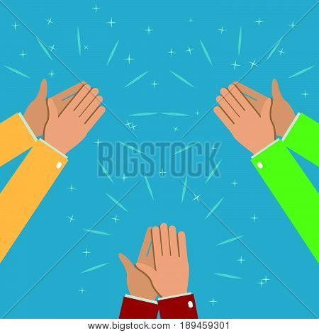 Three pairs of hands applaud applause. Human hands clapping. Illustration in flat style.