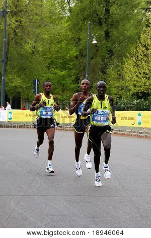 6th april 2008: Kenian runner Philemon Kipchumba Kisang (n?1) is the winner of the last edition of Milan International Half Marathon. The other runners are Wilson Busienei and John