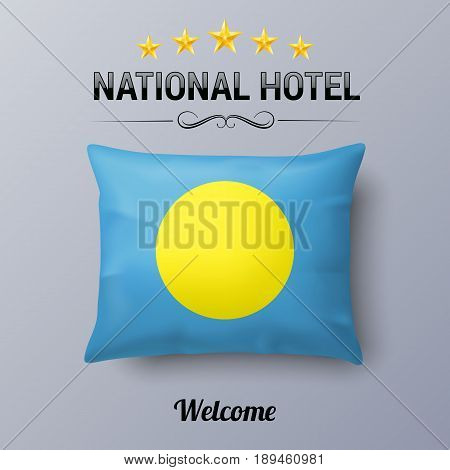 Realistic Pillow and Flag of Palau as Symbol National Hotel. Flag Pillow Cover with Palauan flag