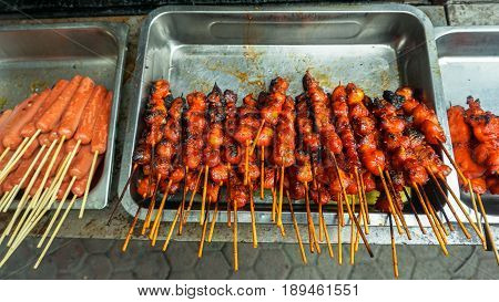 Various chicken satay for sale in street local foods at Kota Kinabalu,Sabah.Kota Kinabalu is one of the most vibrant and popular food capitals in the borneo.