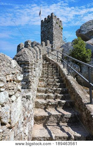 Tower of the castle of the Moors in the municipality of Sintra Portugal