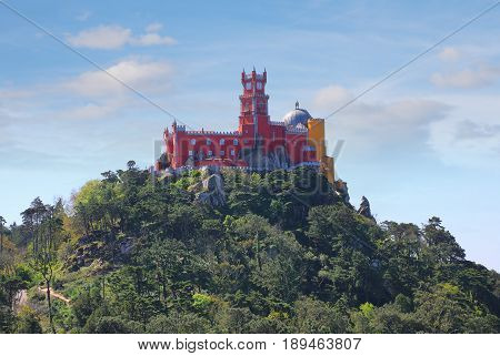 SINTRA - APRIL 07: Pena palace is a hilltop castle located in the municipality of Sintra about 25km northwest of Lisbon Portugal April 07 2017 in Sintra Portugal