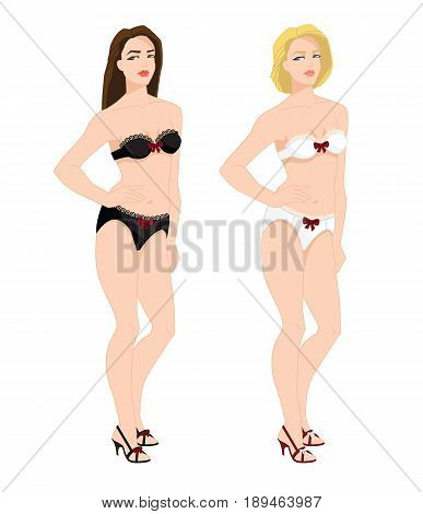 vector illustration of blonde and brunette girls in lace underwear on white background