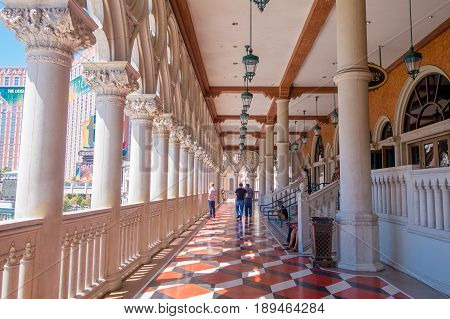 LAS VEGAS, NV - NOVEMBER 21, 2016: An unidentified people walking in the hall of the Venetian hotel in Las Vegas.