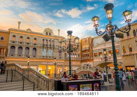 LAS VEGAS, NV - NOVEMBER 21, 2016: An unidentified people walking in the plaza of the Venetian hotel replica of a Grand canal in Las Vegas.