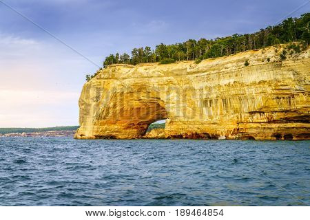 Grand Portal rock formation at Pictured Rocks National Lakeshore on Upper Peninsula, Michigan