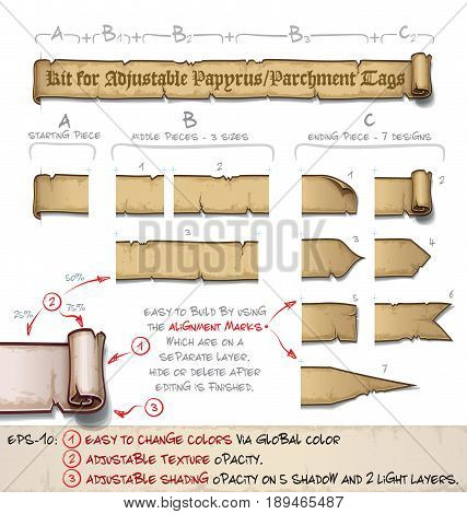 DIY kit of vector cartoon illustrations of aged old papyrus or parchment to create side tags of any size. Neatly layered and labeled with Global Colors for easy editing.