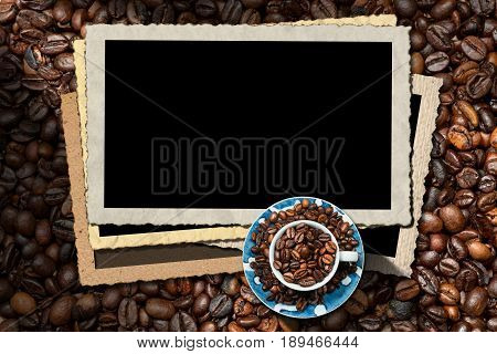 Empty photo frames for a coffee house with a cup and roasted coffee beans