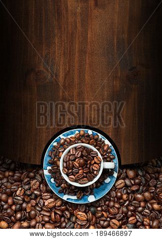Wooden template for a coffee house with a cup with roasted coffee beans