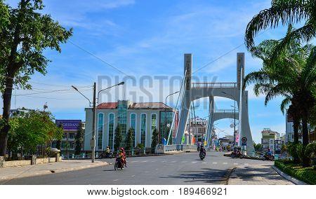 Traffic On The Old Bridge In Phan Thiet, Vietnam