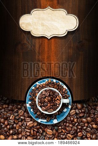 Wooden template for a coffee house with a cup with roasted coffee beans and a label with copy space