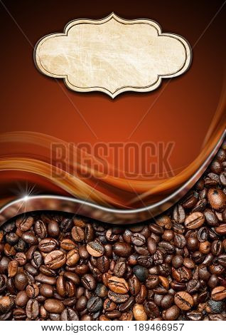 Vertical template for a coffee house with a label with copy space and roasted coffee beans