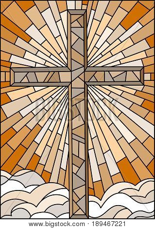 Illustration in stained glass style with the Christian cross on a background of sky and clouds brown tone Sepia