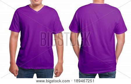 Purple t-shirt mock up front and back view isolated. Male model wear plain purple shirt mockup. V-Neck shirt design template. Blank tees for print