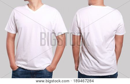 White t-shirt mock up front and back view isolated. Male model wear plain white shirt mockup. V-Neck shirt design template. Blank tees for print
