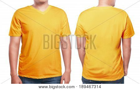 Orange t-shirt mock up front and back view isolated. Male model wear plain orange shirt mockup. V-Neck shirt design template. Blank tees for print