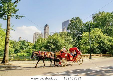 New York, USA- September 12, 2011: Horse drawn carriege in Central Park New York City