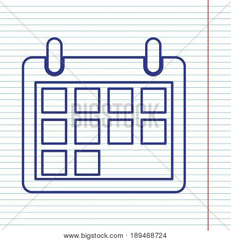 Calendar sign illustration. Vector. Navy line icon on notebook paper as background with red line for field.