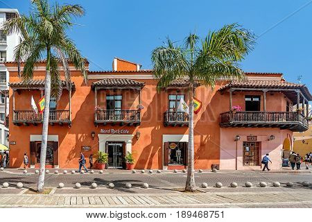Cartagena, Colombia- March 2, 2017: Buildings in the old town Cartagena Colombia